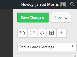 Finally, click on Save Changes at the top of WordPress for Thrive Leads Web Tracking