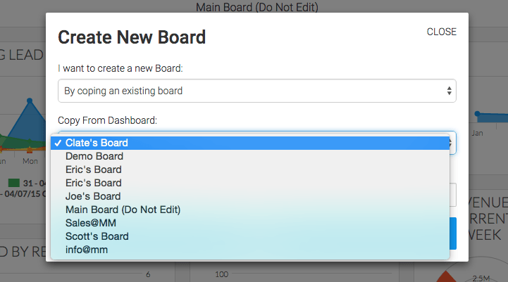 select the dashboard you would like to copy from the new dropdown that appears