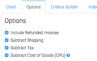 """Click on the the """"Options"""" tab and choose what money you would like to be included in the report."""