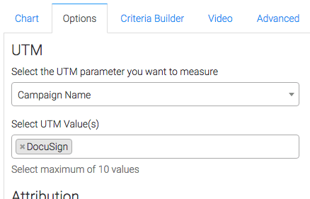 parameter type selected and UTM variables entered