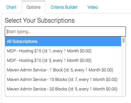 select the subscriptions you want to track from the drop down on the options tab