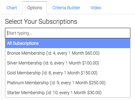 select the subscriptions you would like to track