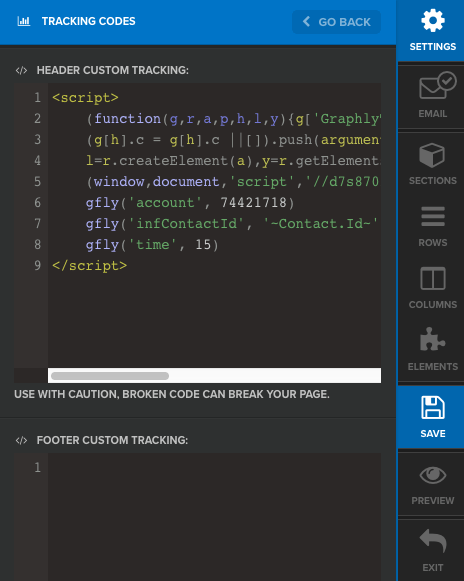 """Past the tracking code under """"Header custom tracking"""" and click """"Save"""""""