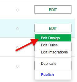 click edit design from the drop-down menu