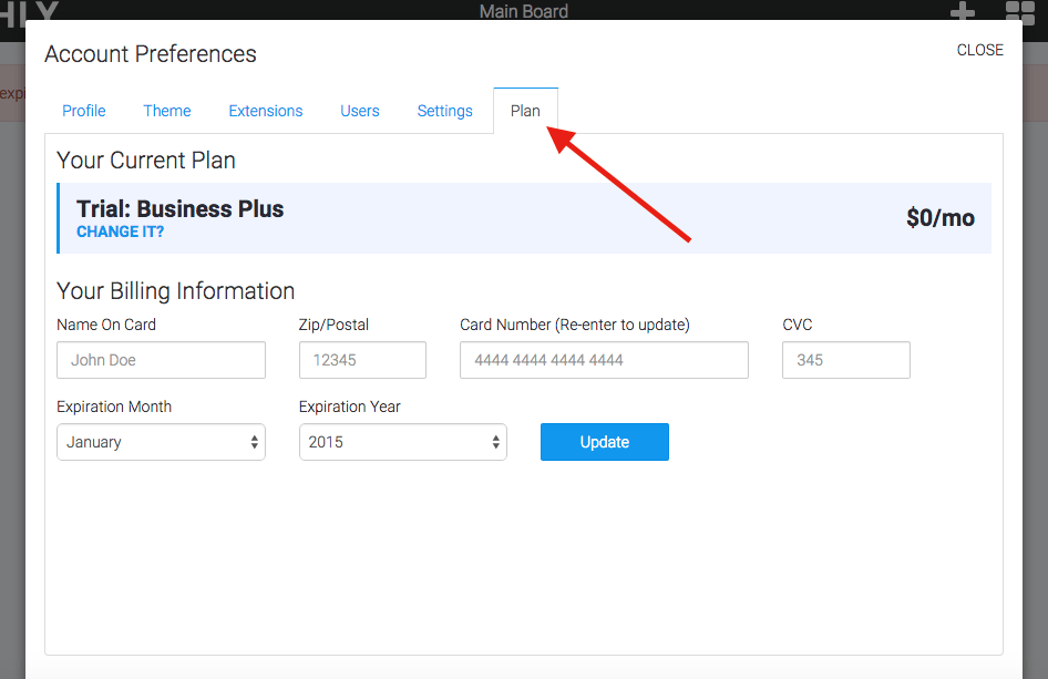 """Now click the """"Plan"""" tab on the far right hand side of the account box to access the Plan settings."""