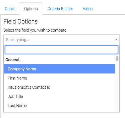 Select the field you want to compare