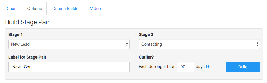 Select the stages that make up your stage pair, give them a label, and click build.