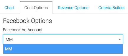 "Now let's go to the cost ""Options"" tab. First, we need to select the Facebook account we would like to use."