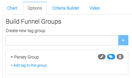 Click on the Options tab and add your first group by typing in it's name a clicking on the add icon