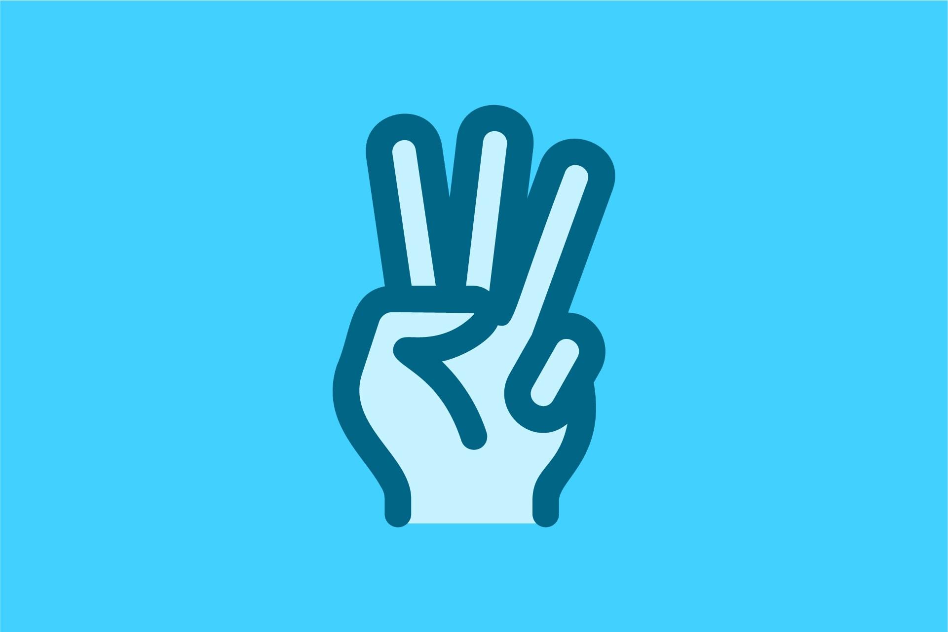 3 fingers cartoon