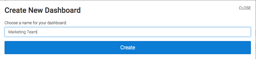 Type in the name you want and click create to add a new dashboard