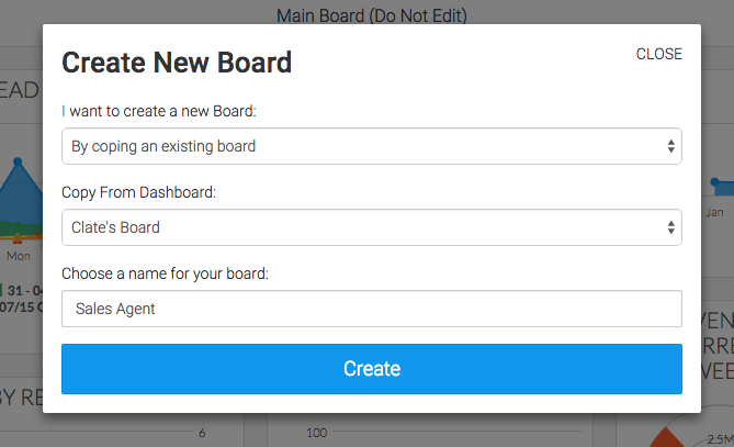 type a name for the new board and click create