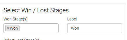 select your won stages and give it a label