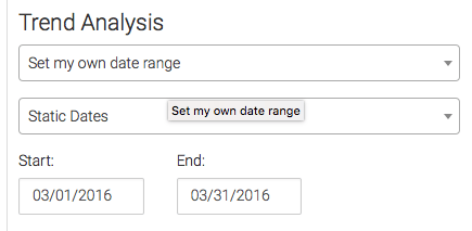 Next choose the settings for your trend analysis.
