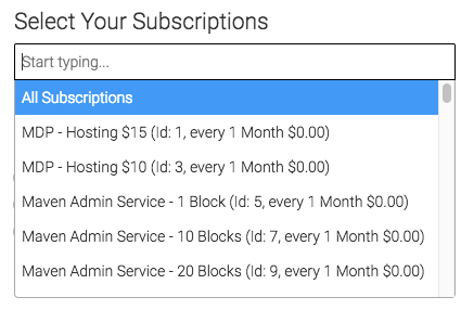 Next, we can select our subscriptions for the subscription duration report.