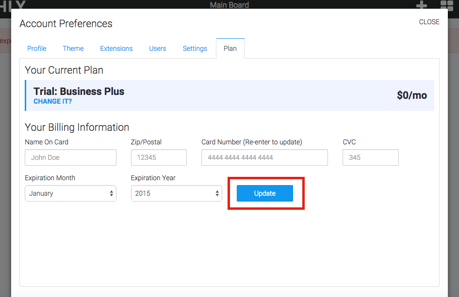 """Once all of your card information is added select """"Update"""" to save the configuration."""