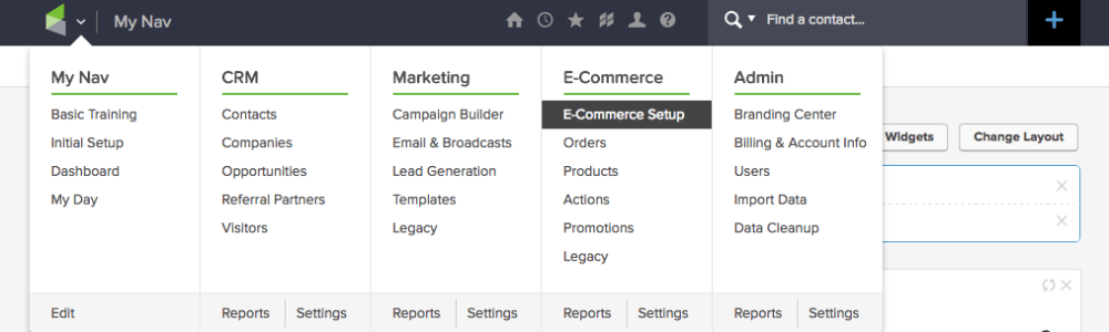 """Copy this script and head over to Infusionsoft. In Infusionsoft, click on the """"Navigator"""" and head to E-Commerce Setup."""