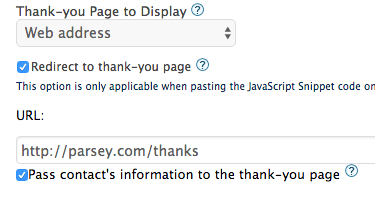 Enter your Thank-you page url and check the box beneath it for the Graphly Web Tracker integration