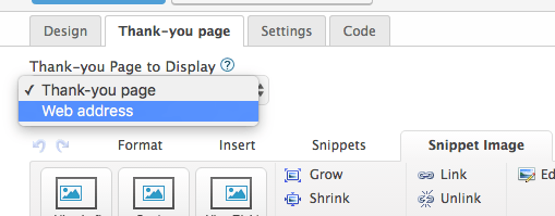"""Next, click on the """"Thank-you"""" page tab and change the dropdown menu to Web Address. For landing pages"""