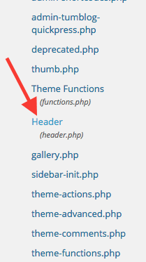 """Scroll down to and click on the """"Header.php"""" file that will appear on the right side of the screen."""