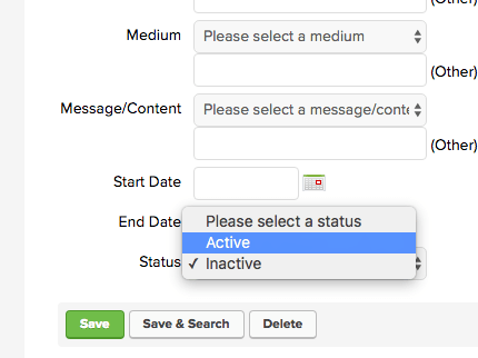 "From here go down to the Status dropdown menu and choose ""Active""."