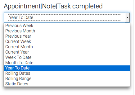 The next step is to choose the date range to display notes, appointments and task