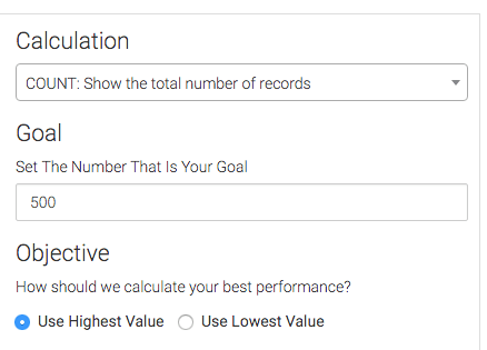 Next, choose your Calculation, Goal, and Objective options. Graphly uses the Objective setting to determine both the Best Performance as well as the Trend.