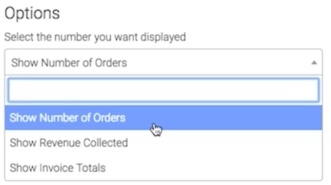 Dropdown of what values can be displayed.