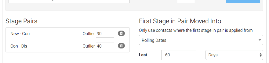 Repeat the process for any stage pairs you want to track. Then select your date range.