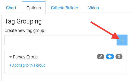 search for tags and click add. then you can add a tag to that group below