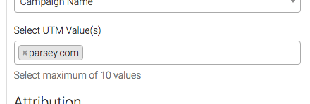 select the utm values