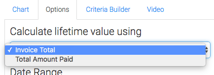 Click on the Options tab and choose how you would like to calculate the lifetime value