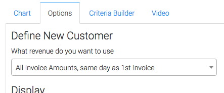 New customer definition selected.