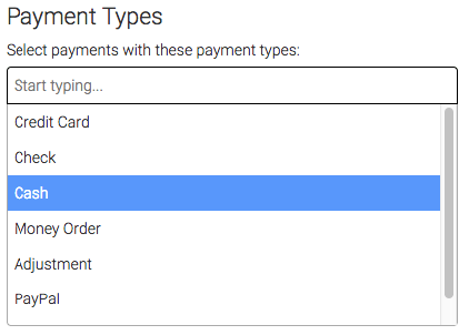 List of available payment types.