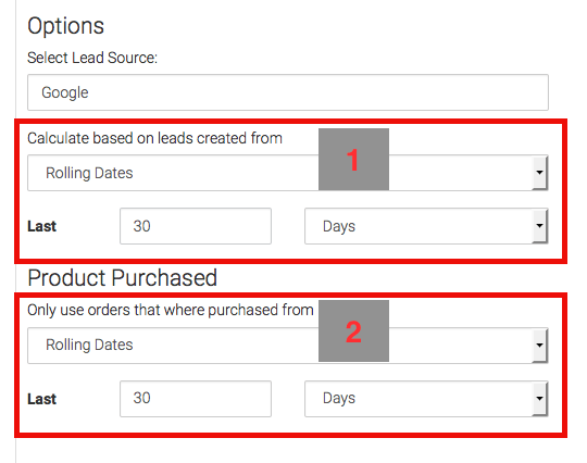 Next, you have a couple of Date Ranges to select. The first is when the lead was created, the second is when the order was created.