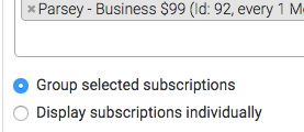 Group selected subscriptions selected.