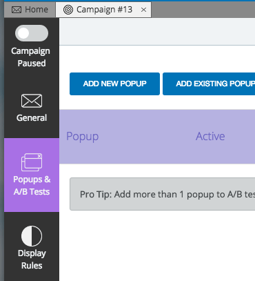 "From here, click on ""Popups & A/B Tests"" on the sidebar. You can find it on the left side of the window."