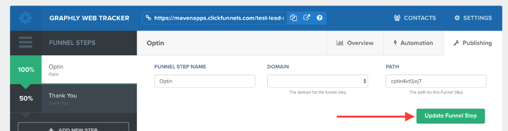 """Click on the """"Update Funnel Step"""" button"""