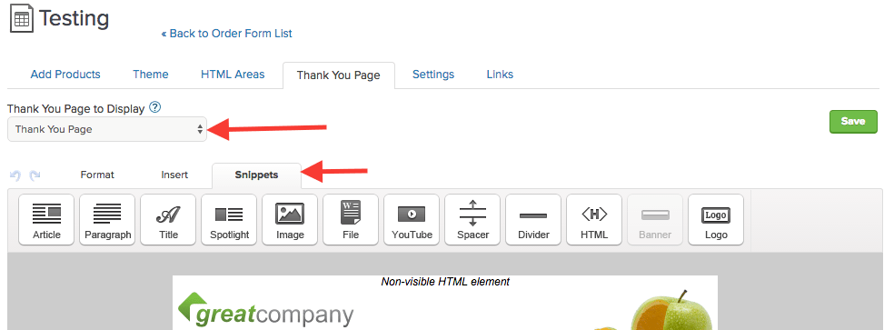 change to thank you page and click snippets
