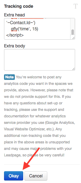 paste the graphly tracking script in the extra head section and click save at the bottom