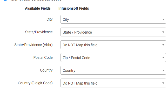 Fill in the appropriate Infusionsoft fields on the right