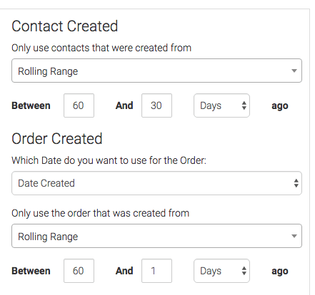 Date range for Contact Created and Order Created selected.