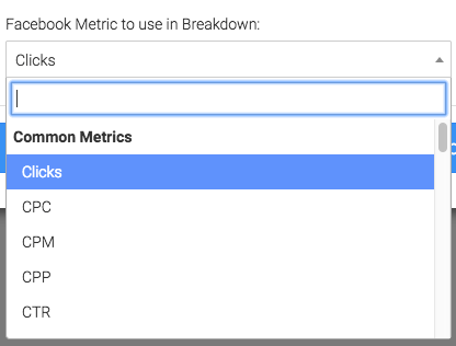 Select the facebook metric to breakdown by age.