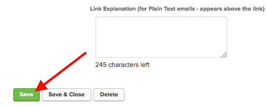 """Then you should leave the link text blank and then click """"Save"""". You will have to click """"Save"""" for this Actions tab to show up."""