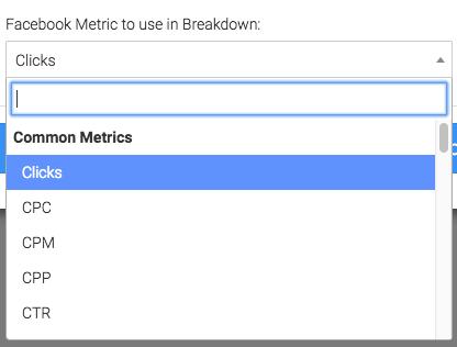 choose which metric to breakdown