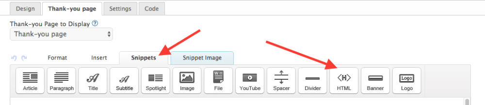 """Then click on the """"Snippets"""" tag and drag an HTML snippet to the top of the thank-you page."""