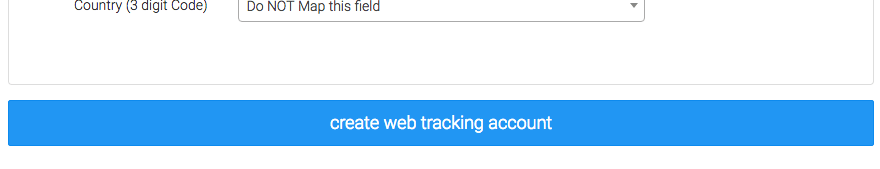 Click on the create web tracking account button at the bottom