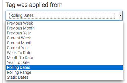 select the date range