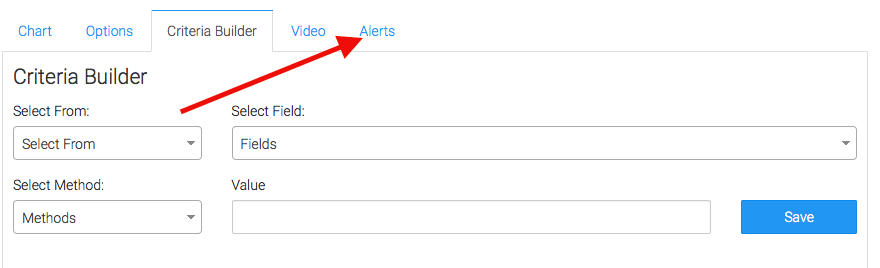 Set alerts in the alert tab for when your values rise above or fall below a threshold of your choosing