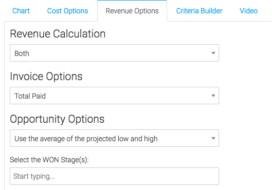"Now we can go to the ""Revenue Options"" tab. This tab pulls in revenue pulled in using Infusionsoft."